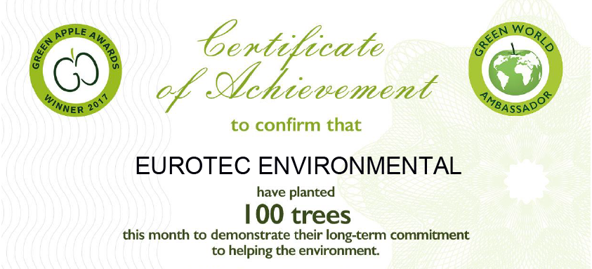 Eurotec Environmental have planted 100 trees as a 2018 Green World Ambassador